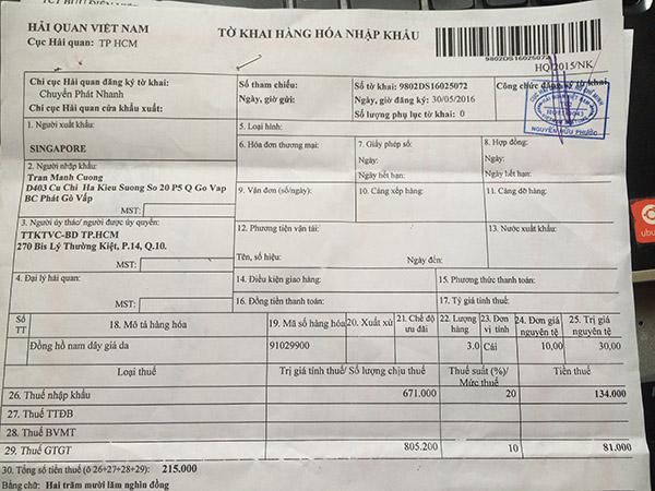 tờ khai hải quan - đóng thuế nhập khẩu